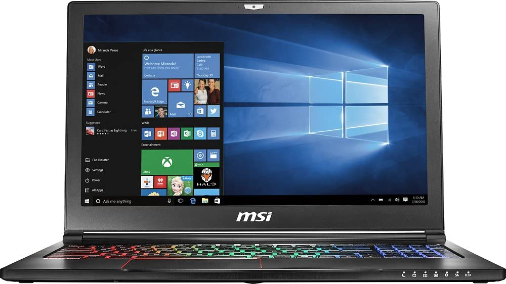 "MSI 15.6"" GS63VR Stealth Pro-252, Full HD Display, Intel Core i7-7700HQ 2.8GHz, 16GB DDR4, 256GB SSD + 1TB SATA, NVIDIA GTX 1060 6GB, 802.11ac, Bluetooth, Win10H (Refurbished)"