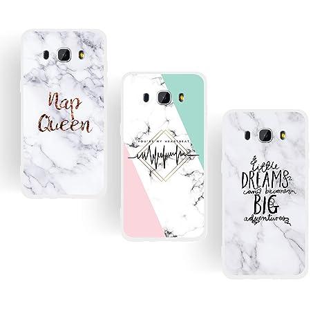 ChoosEU Compatible con 3X Fundas Samsung Galaxy J5 2016 Silicona Dibujos Mármol Creativa Carcasas para Chicas Mujer Hombres TPU Case Antigolpes Bumper ...