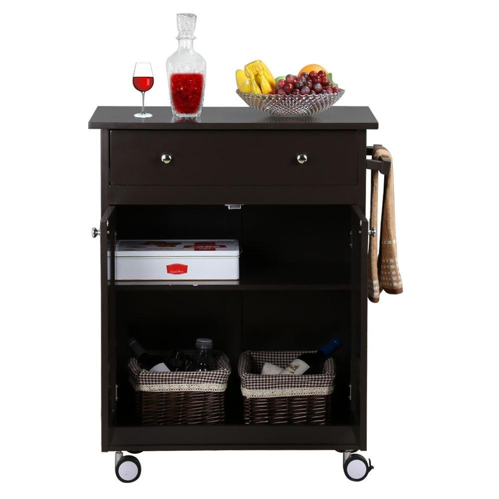 Topeakmart Rolling Bar Home Solid Wood Kitchen Cart Cabinet with Drawers