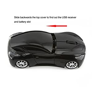 Usbkingdom Cool Sport Car Shape 2.4GHz Wireless Mouse Optical Cordless Mice with USB Receiver for PC Laptop Computer 1600DPI 3 Buttons Black (Color: Black)