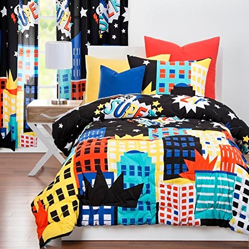 delicate LO 2 Piece Black Kids City Scape Geometric Comforter Twin Set, Bold Colorful Building Be Super Bedding, Abstract Sky Line Crown Theme Pattern, Blue Yellow Red White, Microfiber