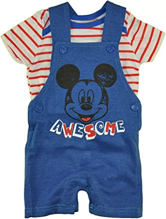 2 Piece Overall and T-Shirt Set Disney Baby Boys Mickey Mouse Romper Newborn//Infant