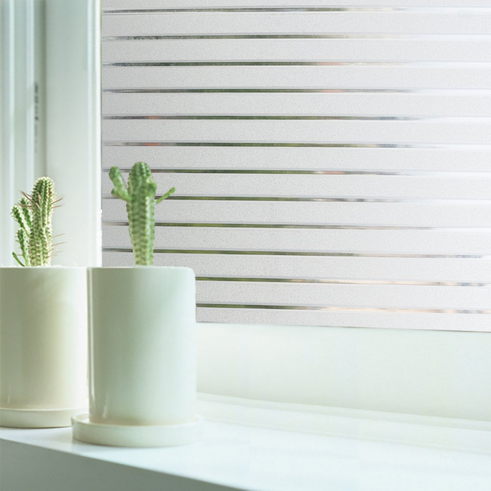 RABBITGOO Frosted Window Clings Privacy Etched Glass Window Film Window Frosting Film Non-Adhesive Window Stickers, 44.5x150cm (Frosted Stripe,17.5'' x 59'') by RABBITGOO (Image #3)