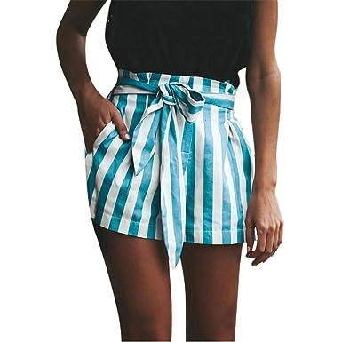 Elégante Mode Short Taille Haute Eté Rayures Verticales Poches Avant avec  Cordon De Serrage Bandage Bowknot cc4ee666a221