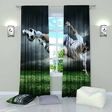 Soccer Window Curtains Ball Sports Themed Football Final Blow Curtain Panels Drapes For Boys Teen Men