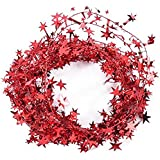 Parkparty 15 Feet Star Tinsel Garland Christmas Decoration Red (Pack of 1)