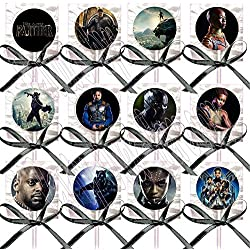 Black Panther Movie Lollipops Party Favors Supplies Decorations Lollipops with Black Ribbon Bows Party Favors -12 pcs