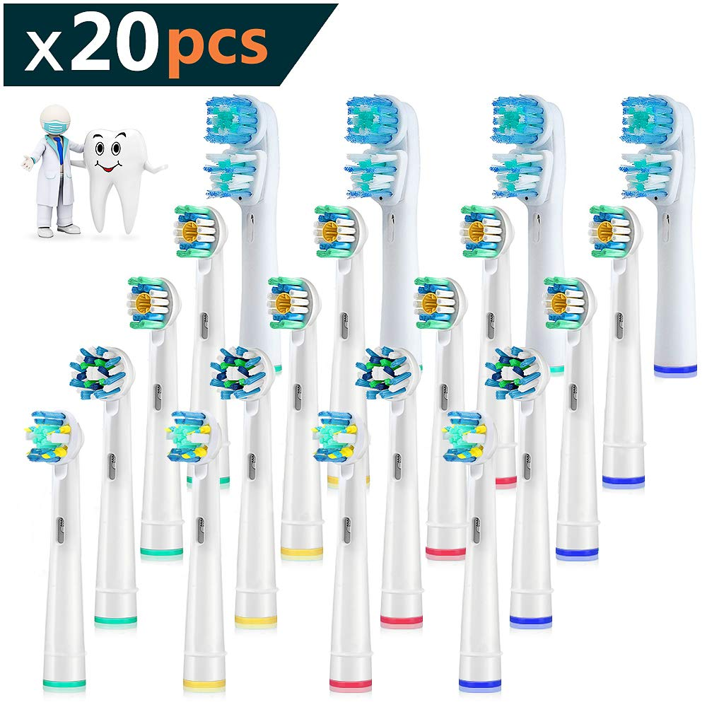 Ksera Electric Toothbrush Replacement Heads 20-Pack Refill for Oral-B Electric Toothbrush Pro 1000 Pro 3000 Pro 5000 Pro 7000 (20 Count)