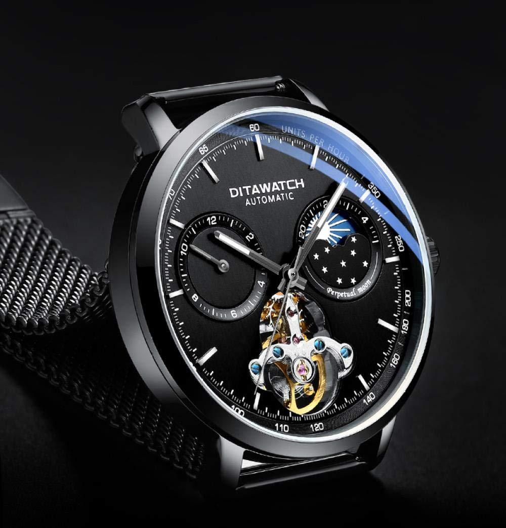 Herrklockor automatisk mekanisk klocka ihålig vattentät självlysande trend vardaglig klocka Cool Black Black Plate Steel Belt