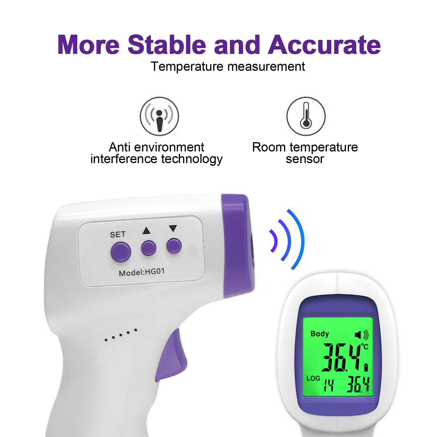 Non-Contact Forehead Infrared Thermometer for Baby Kids /& Adults with LCD Display and Temperature Alarm