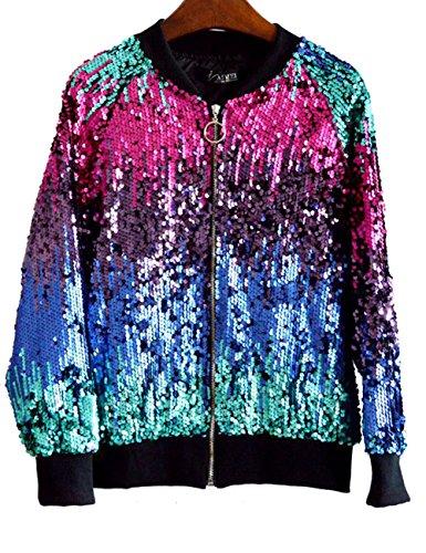 (LRT Womens Sequins Bomber Jacket Multi Color Dancing Jacket (Free Size, RED))