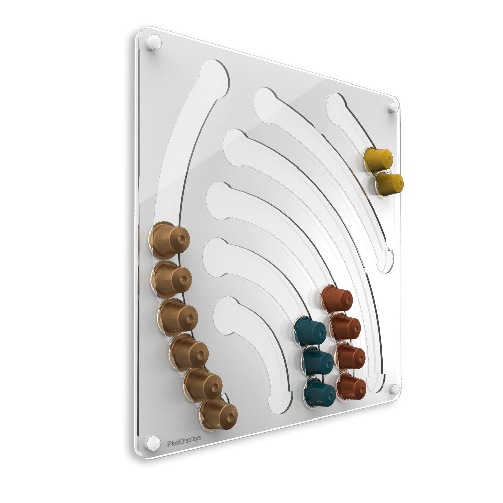 Plexidisplays 1103001 Wand-Kapselhalter für Nespresso-Kapseln, Design Wasserfall, 41 x 40 cm, weiß