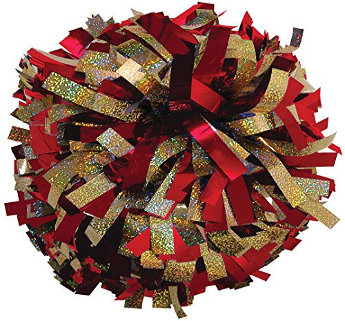 Chassé Metallic with Holographic Mix Cheerleading Pom - Red/Gold