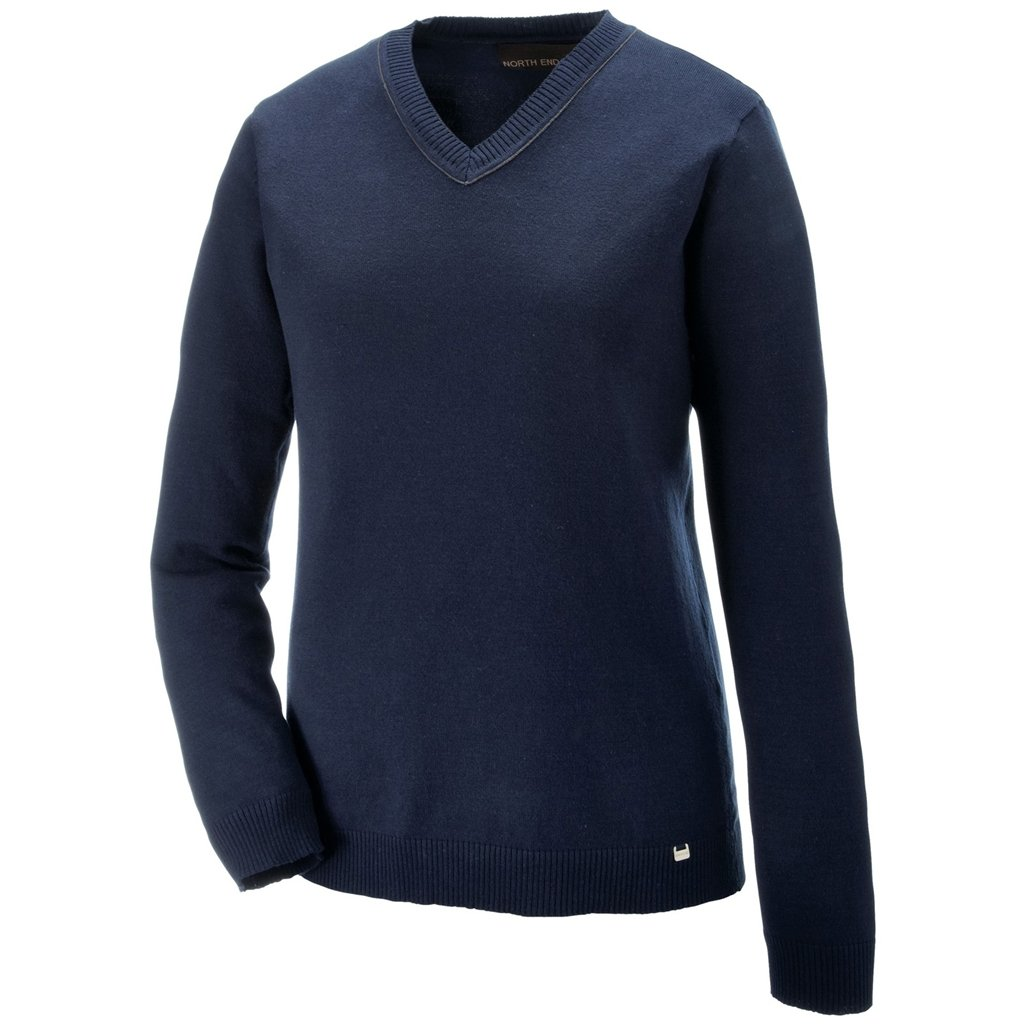 Ash City Ladies Merton V-Neck Sweater (X-Small, Classic Navy/Fossil Grey)