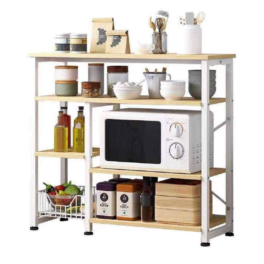 Hicy Home Kitchen Island,3-Tier Microwave Stand Storage,Baker's Rack Utility (Natural) by Hicy