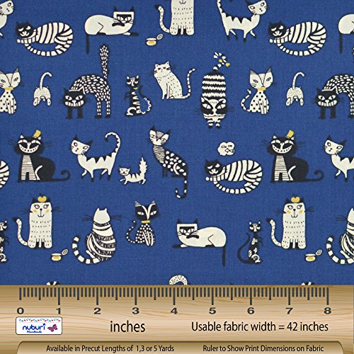 Cats - Fancy Cats - Fabric by the Yard - Selection of Color and Length - 100% Cotton (Blue, 1 (Cat Fabric)