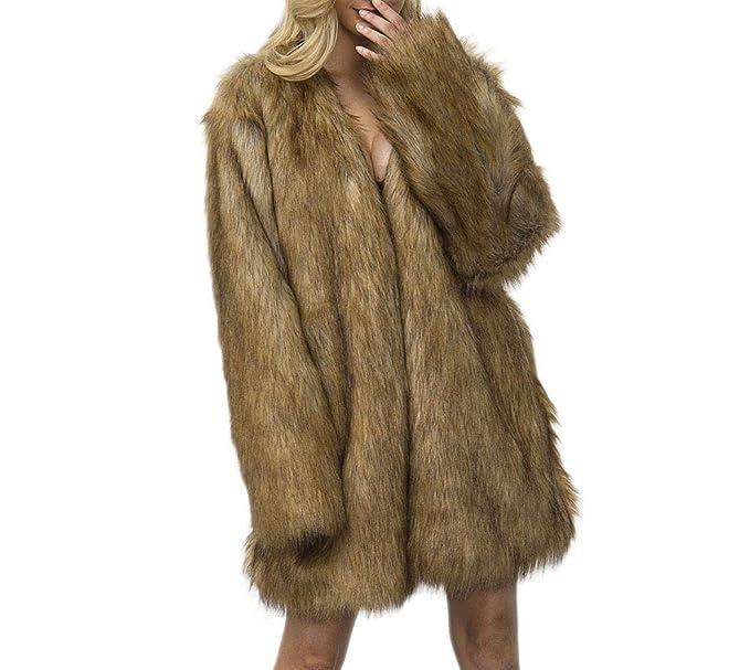 Amazon.com: Tngan - Abrigo de piel sintética para mujer ...