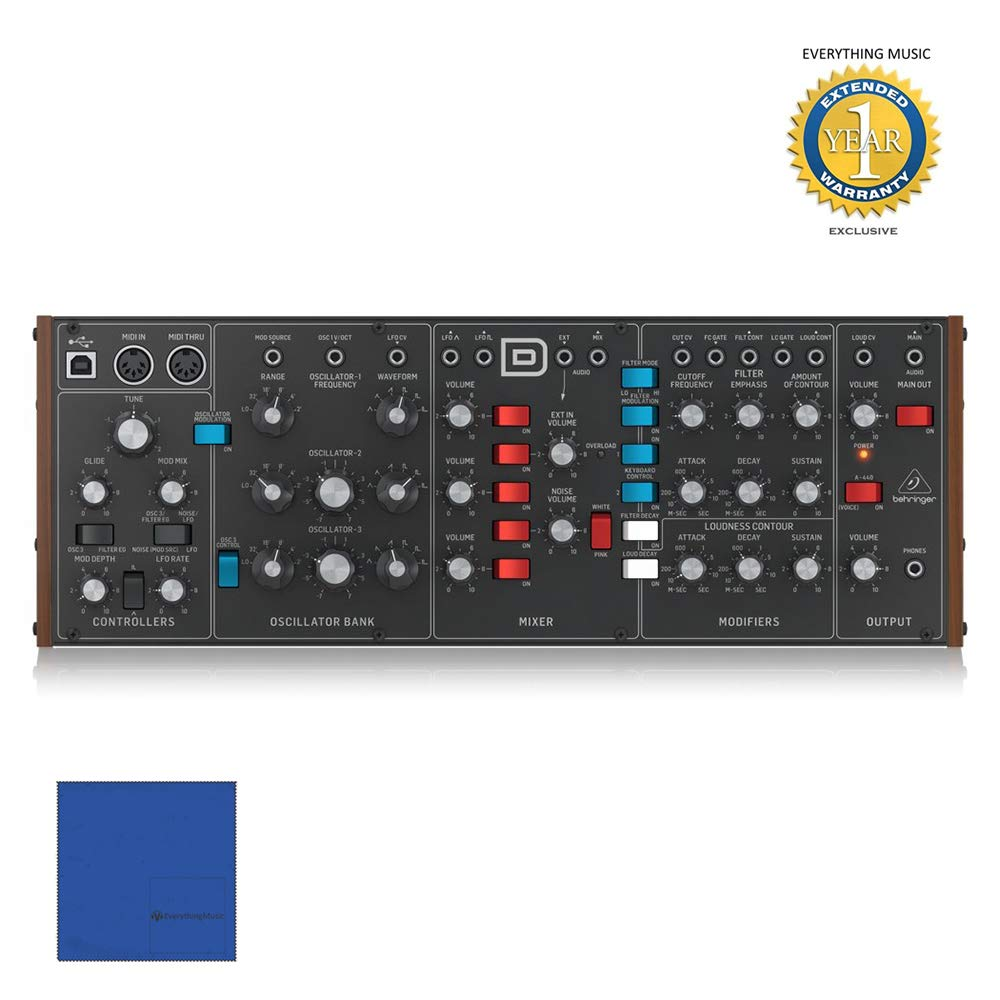Behringer MODEL D Eurorack-sized Analog Monosynth Module with Microfiber and 1 Year Everything Music Extended Warranty