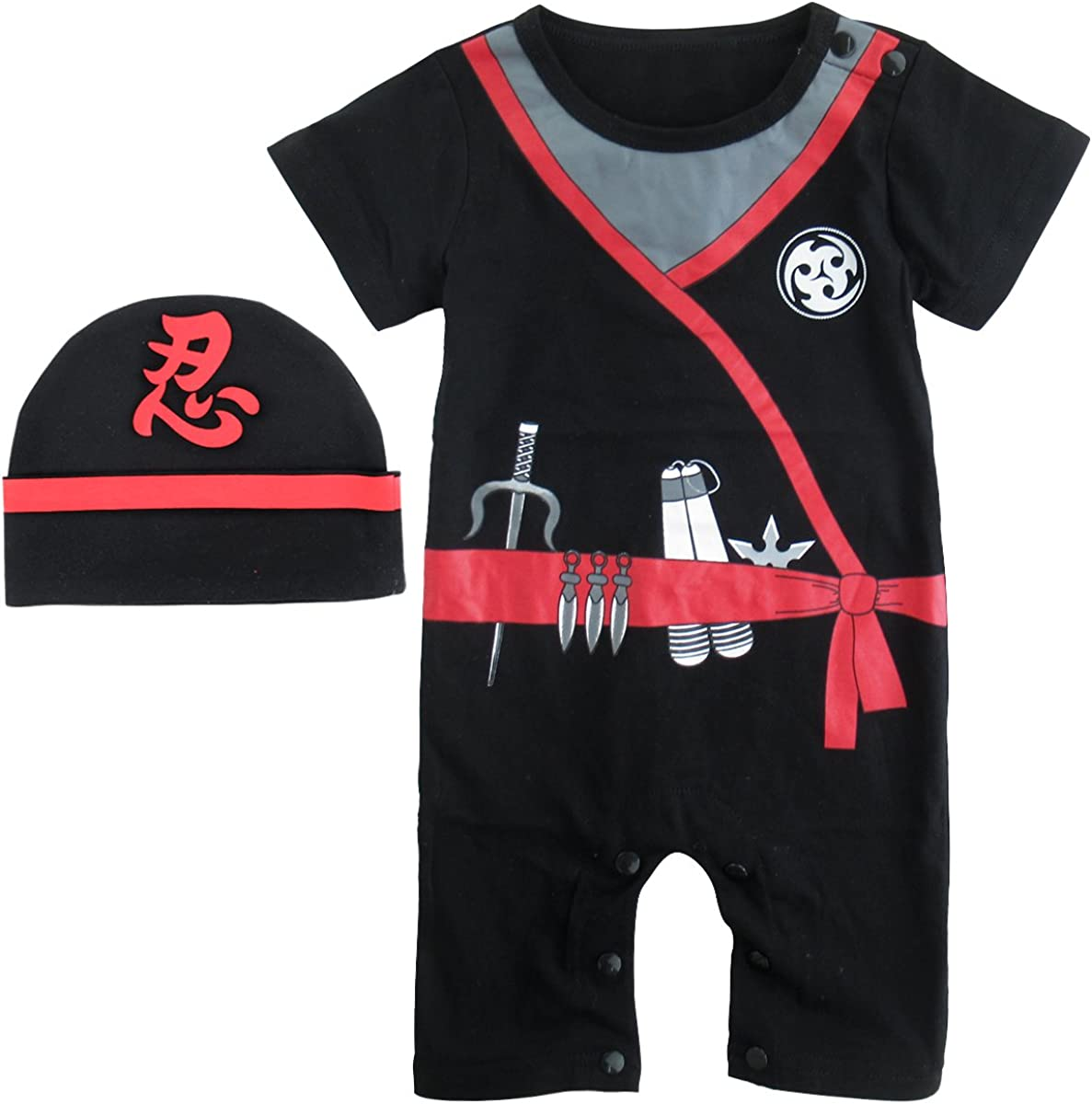 Baby Boys' Ninja Romper with Hat