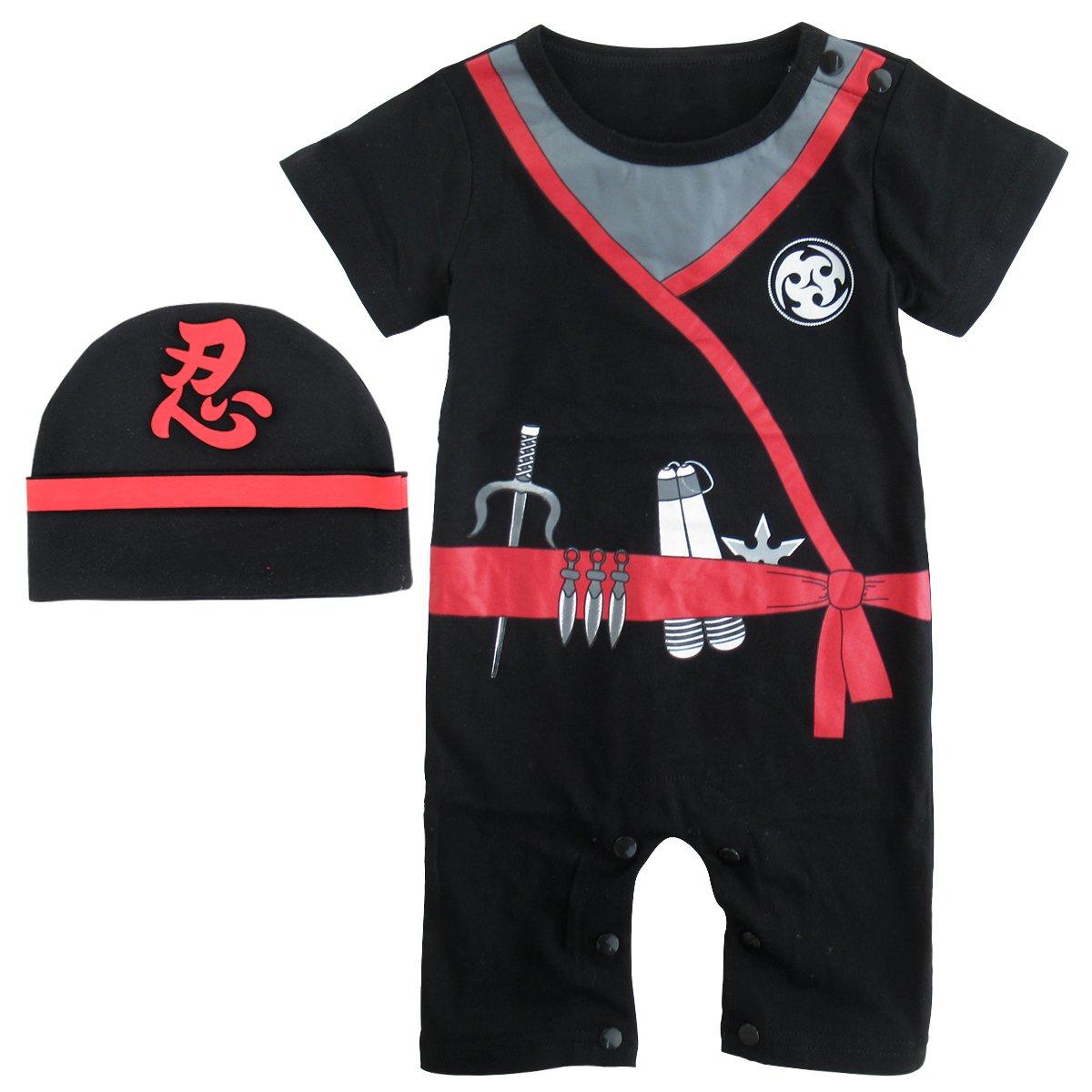 COSLAND Baby Boys' Halloween Costume Ninja Romper with Hat