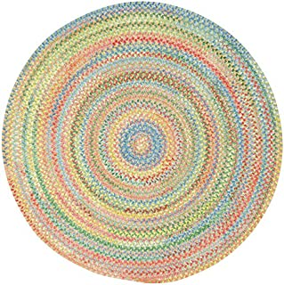 "product image for Capel Baby's Breath Light Green 0' 15"" Round Braided Rug"