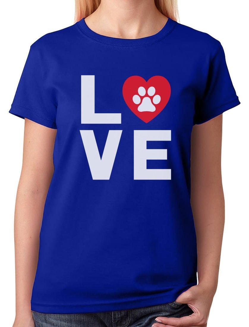 a7406add TeeStars - Animal Lover Dog Paw Print - Love Dogs My Best Friend Women  T-Shirt XX-Large Blue