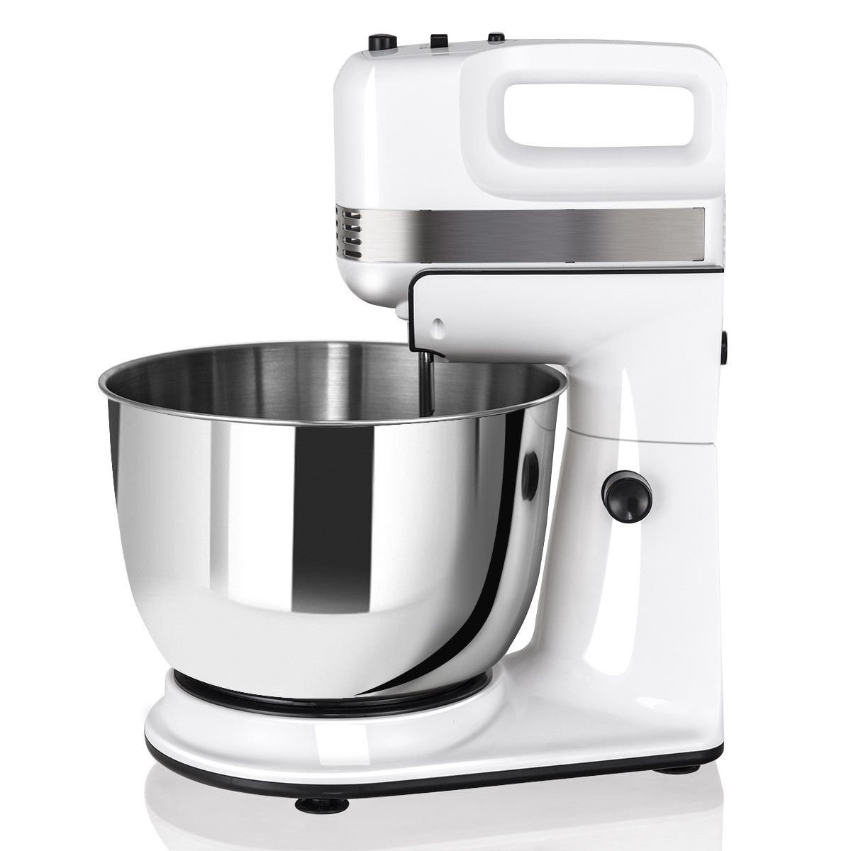 GHP 250W 120V 5-Speed Stainless Steel Bowl Stand Mixer with Beaters & Dough Hooks