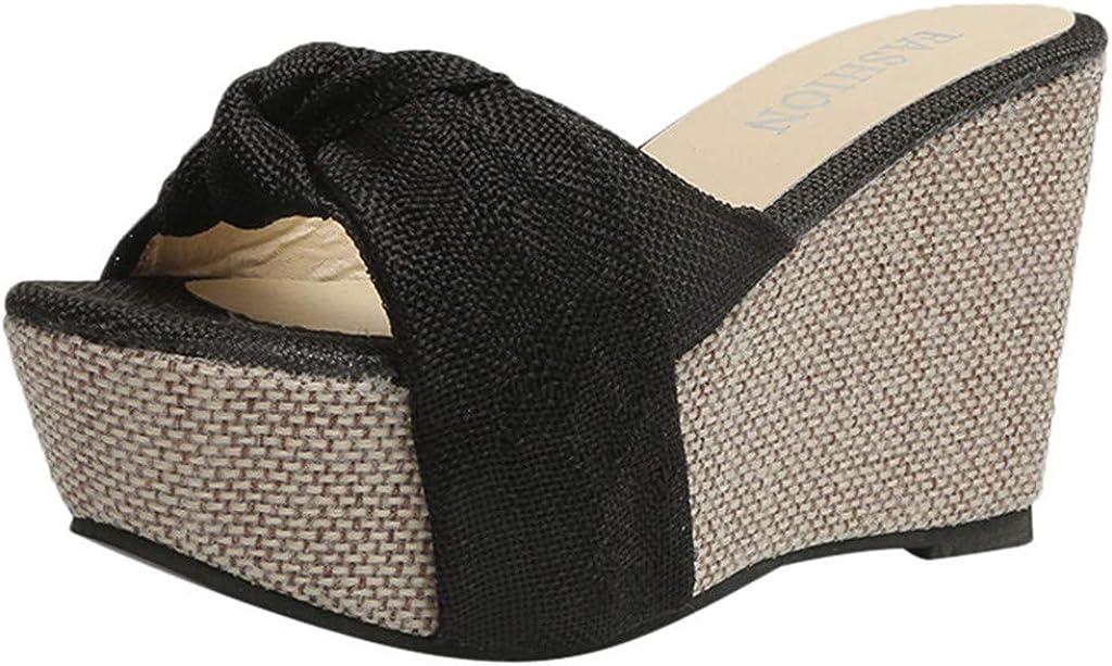 Goddessvan Womens Wedge Beach Sandal Summer Slip-On High Heel Platform Peep Toe Shoes Bow Sandals