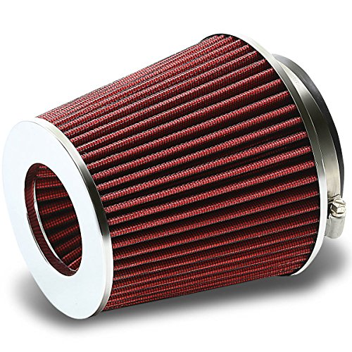 """Universal Clamp-On Cotton Gauze Short Round Air Intake Filter+Reducer Hose for 3-4"""" Inlet (Red)"""