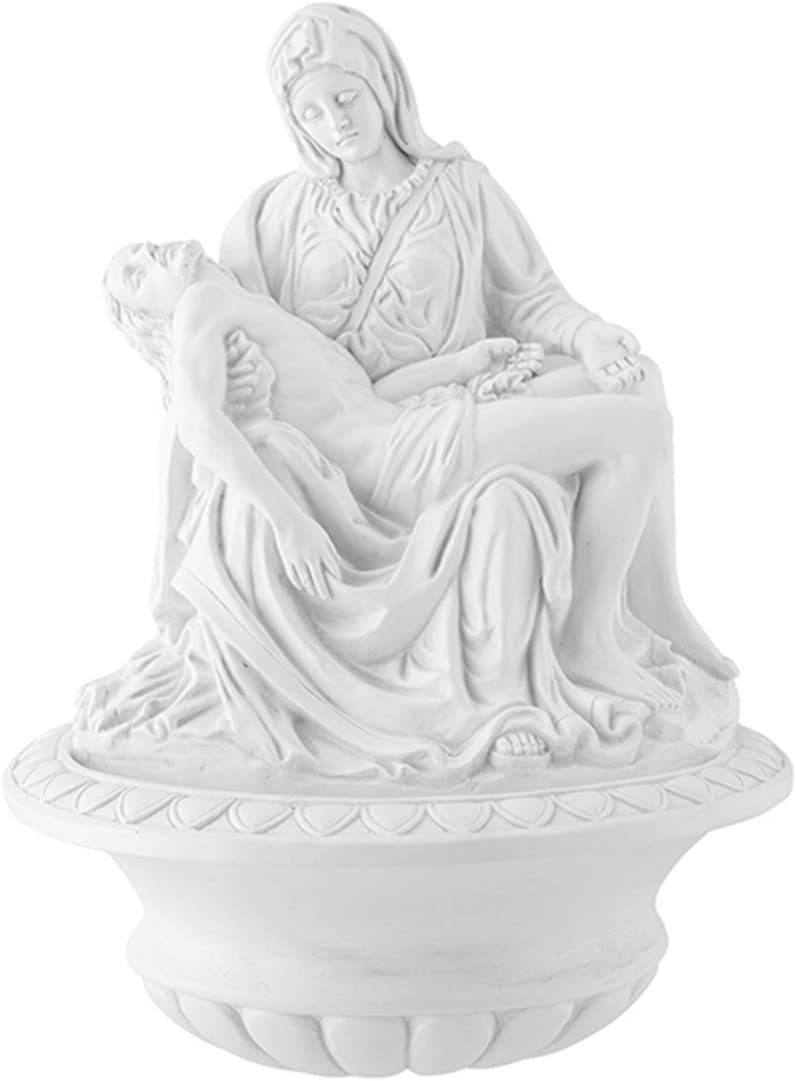 The Pieta Virgin Mary and Jesus Christ White Resin Holy Water Font, 9 1/2 Inch