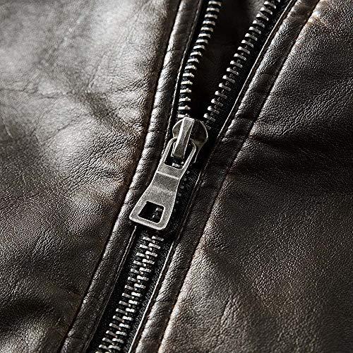 Pelle Pelle Giacca Tasca Superiore Cappotto Chiusura Uomo Pelle Pelle Pelle Sportiva Casuale Lampo XL Termica Uomo Pu M L XXL Termico Giacche e Giacca di Modo XXXL Marrone della JiaMeng Giacche Uomo Cappotti da xI7vTXX