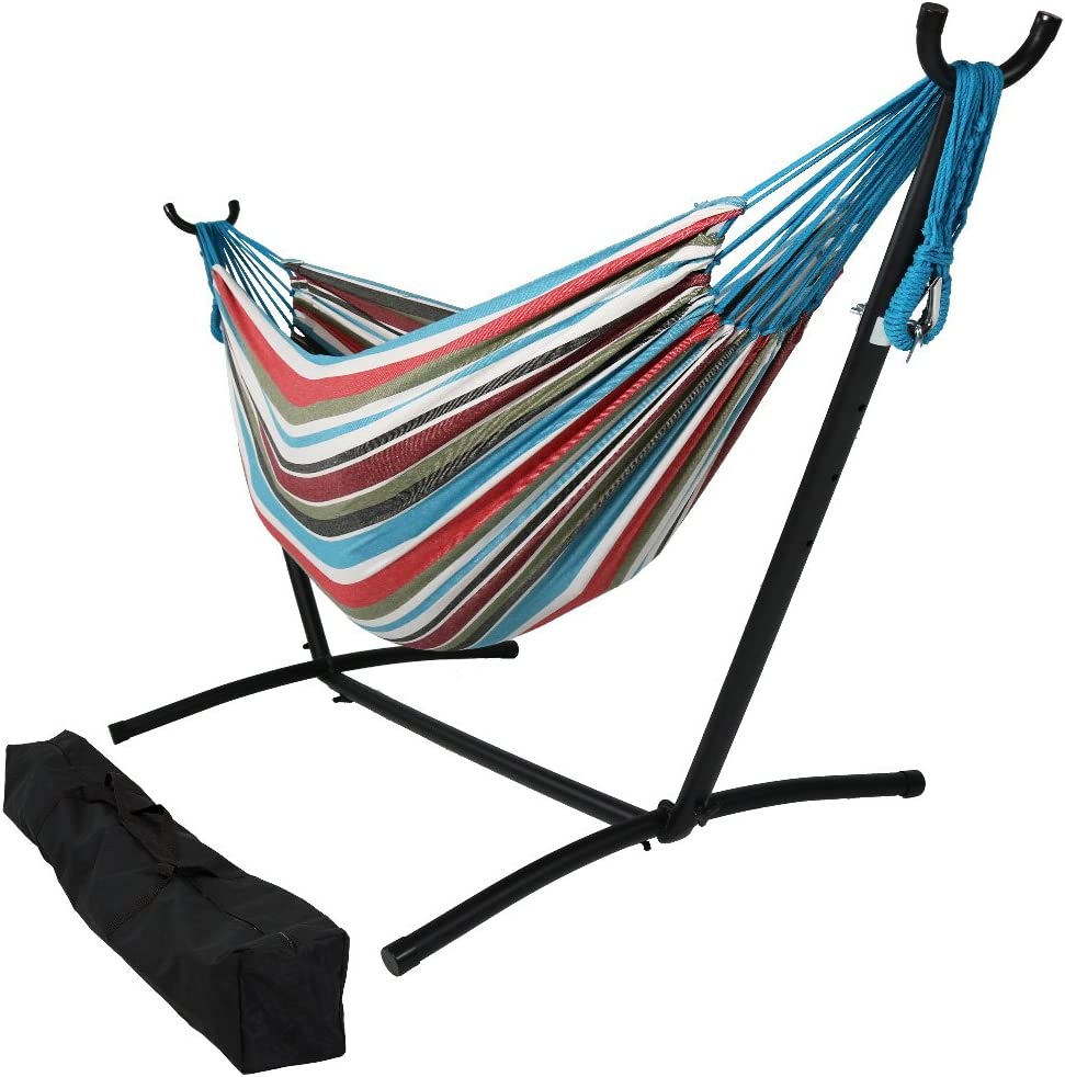 Sunnydaze 9 ft Steel Hammock Stand with Double Brazilian Hammock Combo - Cool Breeze