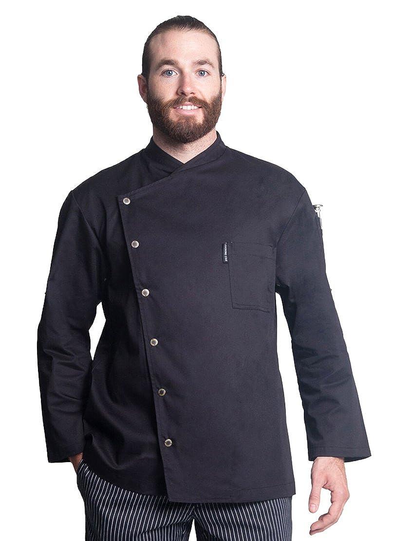 Bragard Arizona Convertible Long Sleeve Snap Buttons Chef Jacket Poly Cotton - Black | Sizes 32/34 - 50/52 US | FC1842-8362