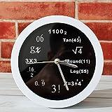 Novelty Fashion Math Quartz Alarm Clock - Math Equation Silent Desk Clocks- Unique Wall Clock for Home Decor (Black-White)