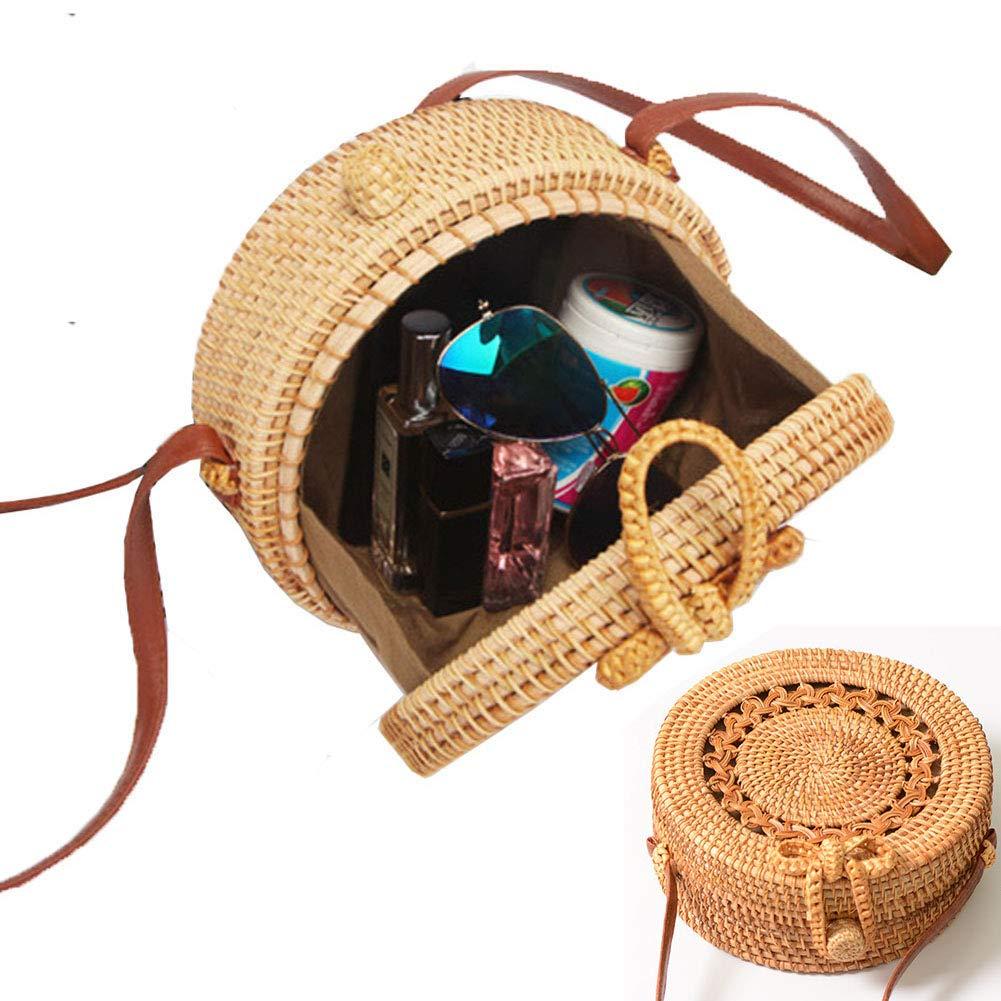 Zinuo Round Woven Ata Rattan Bag Summer Beach Shoulder Bag for Women (S1)
