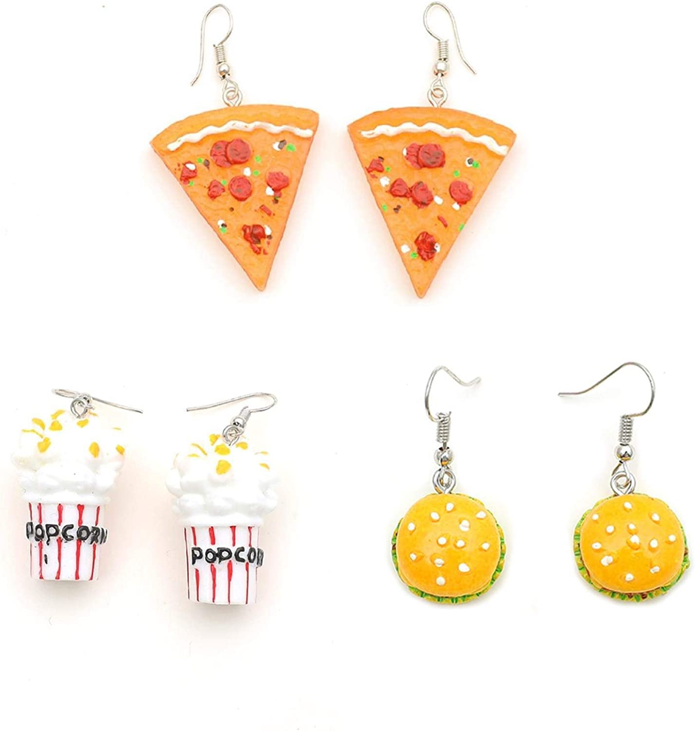 3 Pairs Pizza Hamburger Popcorn Dangle Earrings Set Polymer Clay Handmade Simulation Food Drop Earrings Cute Unique Resin Novelty Food Earrings Set for Women Girls Jewelry