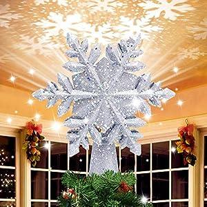 lluminazione di Natale 3D Hollow Stella di Natale Puntale dell'albero di Natale Fiocco di Neve luci del proiettore a LED per Natale Decorazione dell'albero di Natale Home Decor Partito (Argento) 1 spesavip