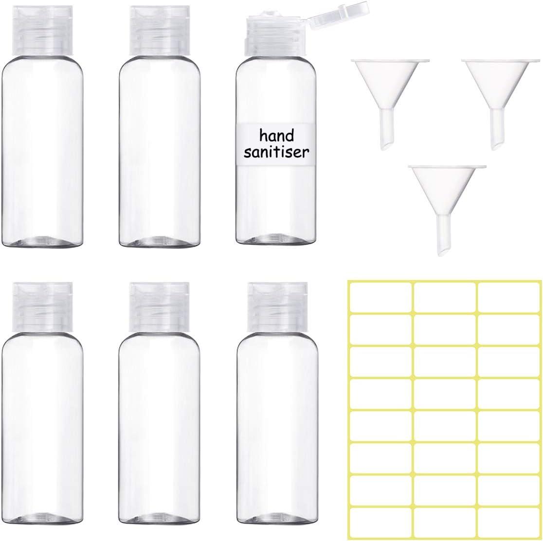 6 Piezas Botes Viaje 50ml, Botella Plastico con 3 Mini Embudos y 24 Etiquetas para Rellenar Líquidos o Cosméticos