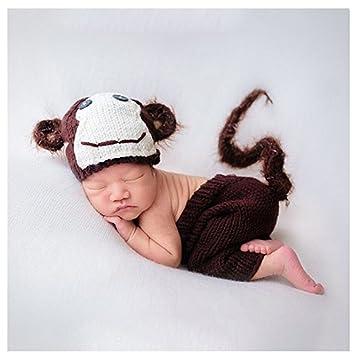 Fashion Newborn Boy Girl Baby Costume Knitted Photography Props Monkey Hat  Pants  Amazon.co.uk  Baby 6b5d8496cb2d