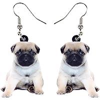 NEWEI Acrylic Sweet Pug Dog Earrings Dangle Drop For Women Ladies Girl Animal Pet Jewelry Gifts Charm