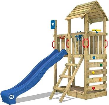 WICKEY Parque infantil de madera Smart Flash con tobogán azul, Torre de escalada de exterior con arenero y escalera para niños