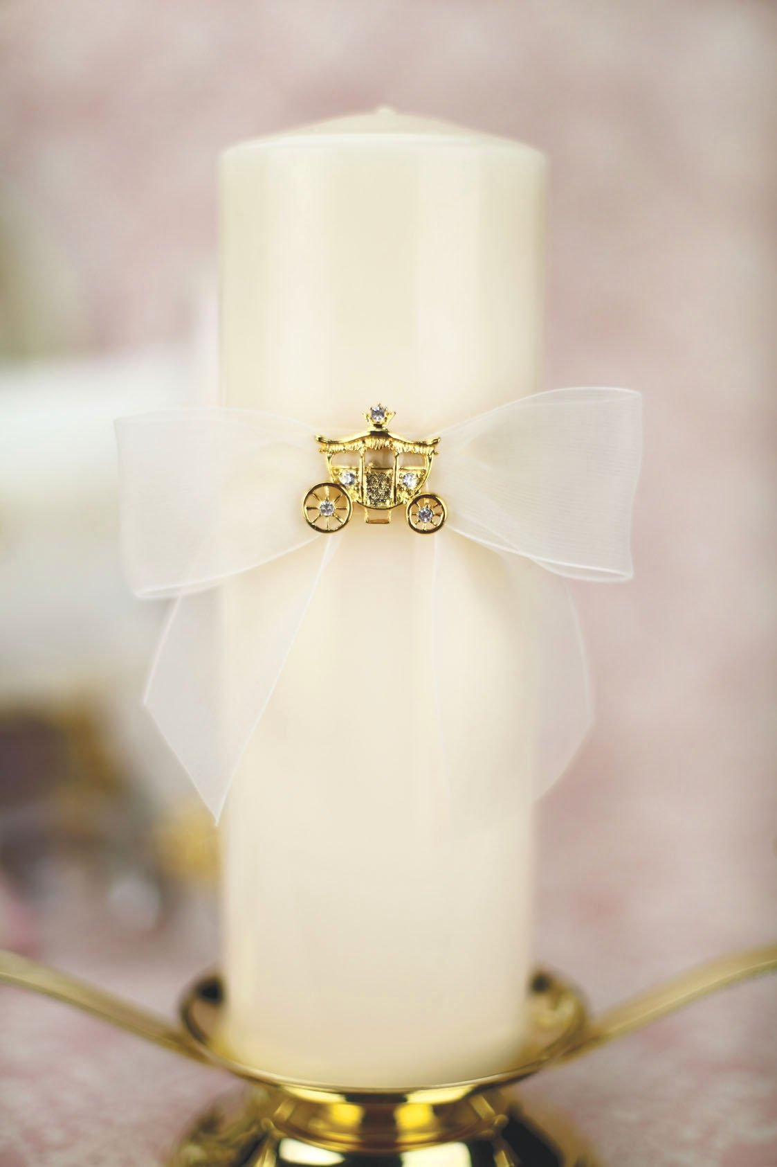 Elegant Fairy Tale Cinderella Coach Wedding Unity Candle Set (Silver/Gold): Coach Color: GOLD - Candle Color: IVORY