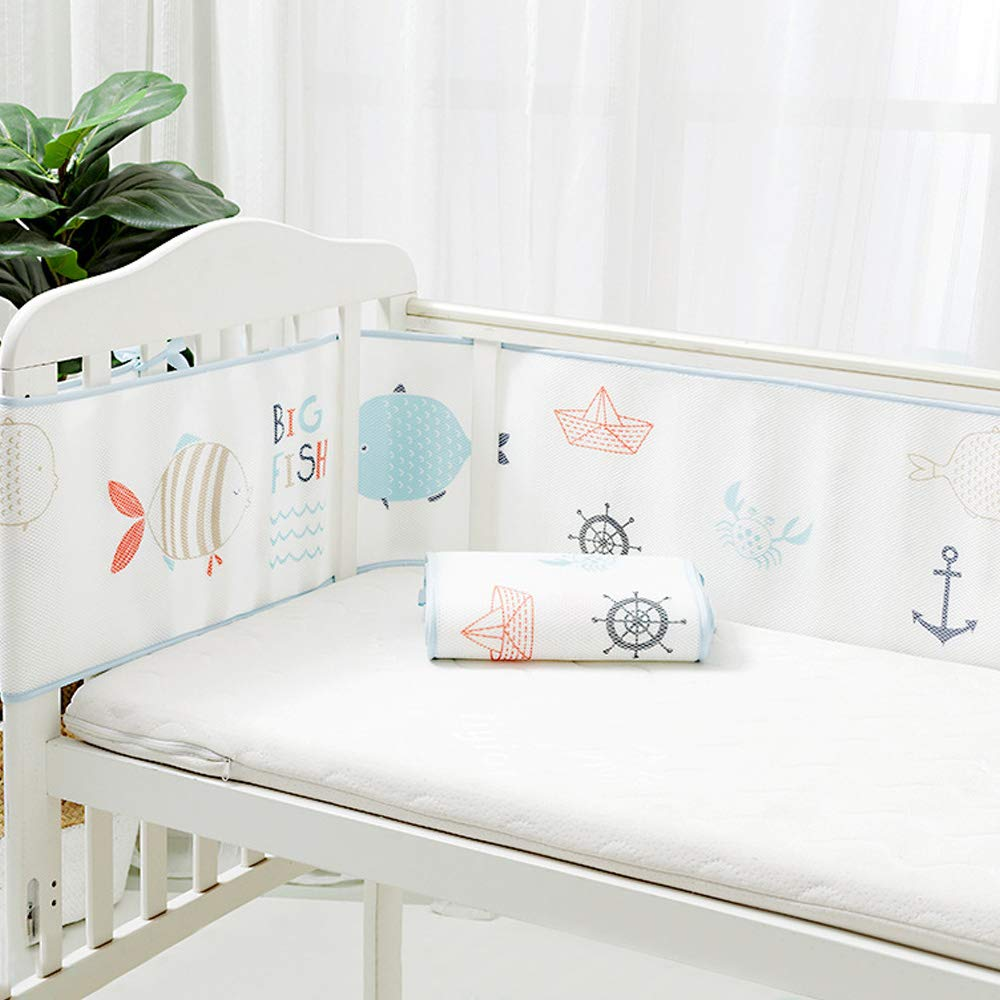 Baby Safe Crib Bumper Pads for Cribs Bedding Machine Washable Padded Crib Liner Anti-Bumper Non-Padded Thick Padding for Nursery Bed Crown