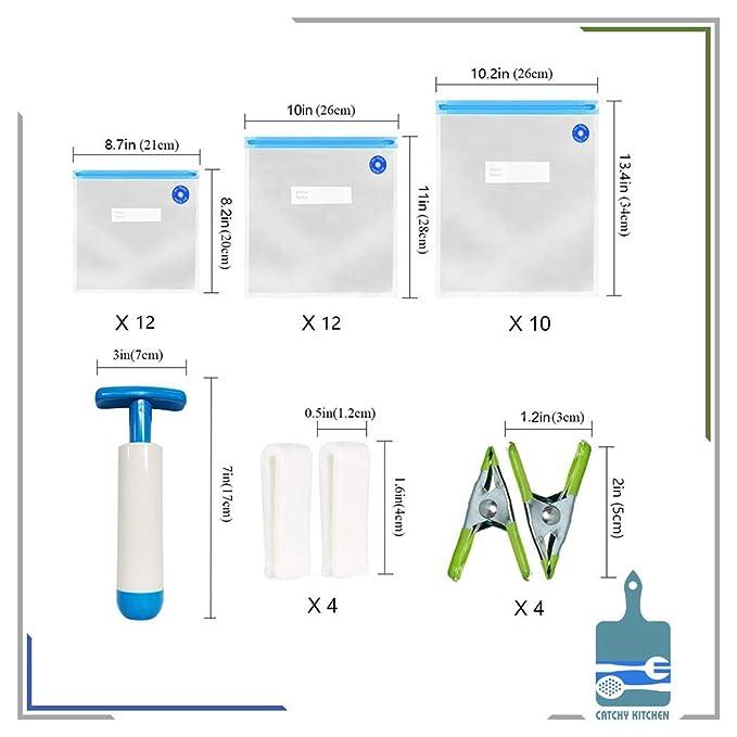 Bolsas Sous Vide sin BPA, 15 bolsas reutilizables de sellado al ...