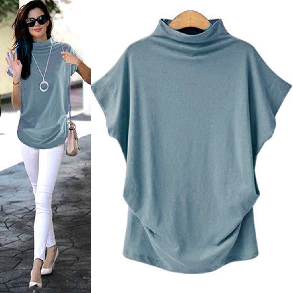 Top for Women Turtleneck Short Sleeve Slim Fit Mock Soft T-Shirt Tank Tops Basic Stretchy Pullover S-5XL