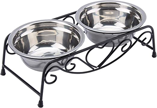 Stainless Steel Dog Bowl, Metal Dog Bowls, Double Dog Bowls with a Stand for Small Medium Pets Dogs Cats (Pack of 2)