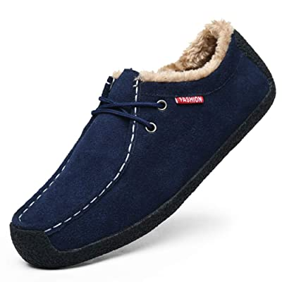 Men's Winter Warm Plush Boat Slippers Loafers Male Suede Indoor Outdoor Casual Slip On Shoes Moccasins Memory Foam | Slippers