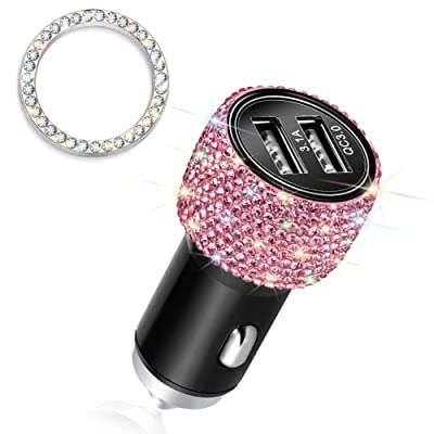 Otostar Quick Charge 3.0 Car Charger Bling Car Accessories Crystal Diamond Dual USB Car Charger Adapter for iPhones Android Phones (Pink): Home Audio & Theater
