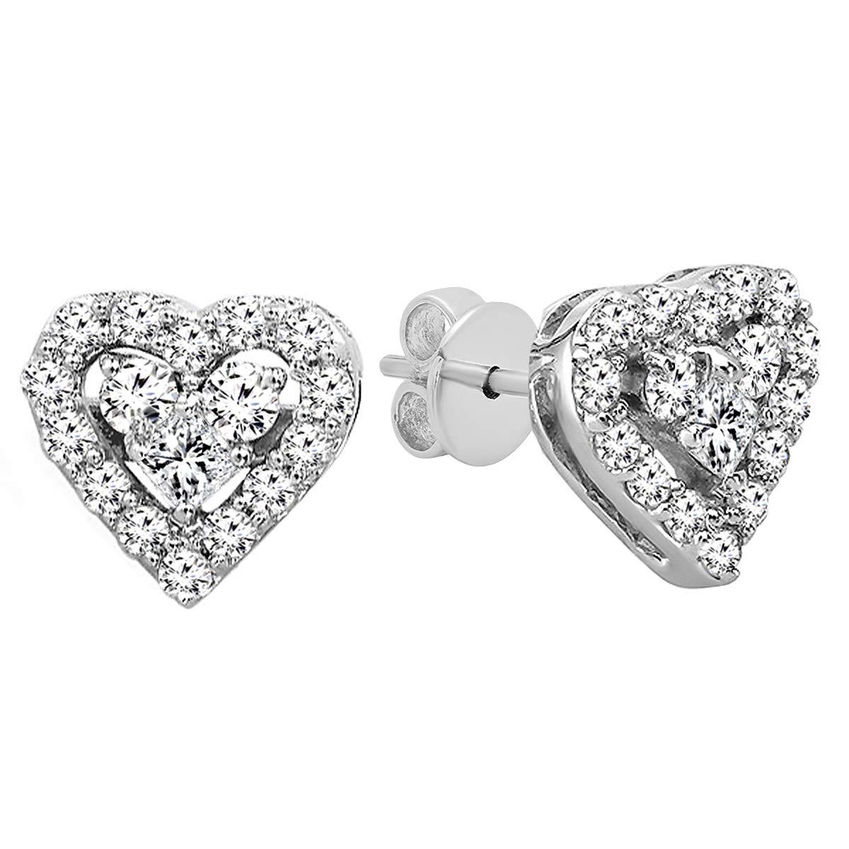 3f691d50f Amazon.com: Dazzlingrock Collection 0.55 Carat (ctw) 10K Round & Princess  Diamond Ladies Heart Shaped Stud Earrings 1/2 CT, Rose Gold: Jewelry