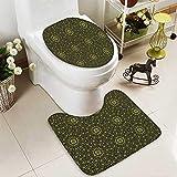 SOCOMIMI 2 Piece Toilet mat Set Eastern Islamic Ornamental Geometrical Shapes Moroccan Artful Image Yellow Black 2 Piece Shower Mat Set